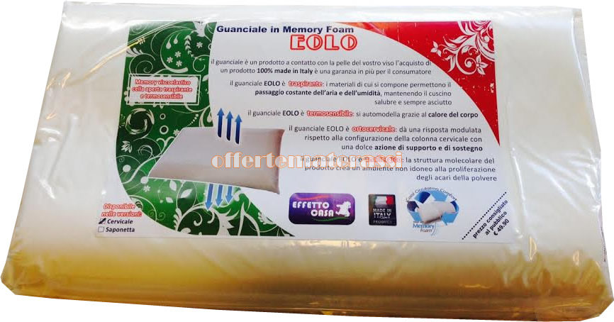 Cuscino Memory Cervicale Prezzo.Guanciale In Memory Cervicale Eolo Made In Italy